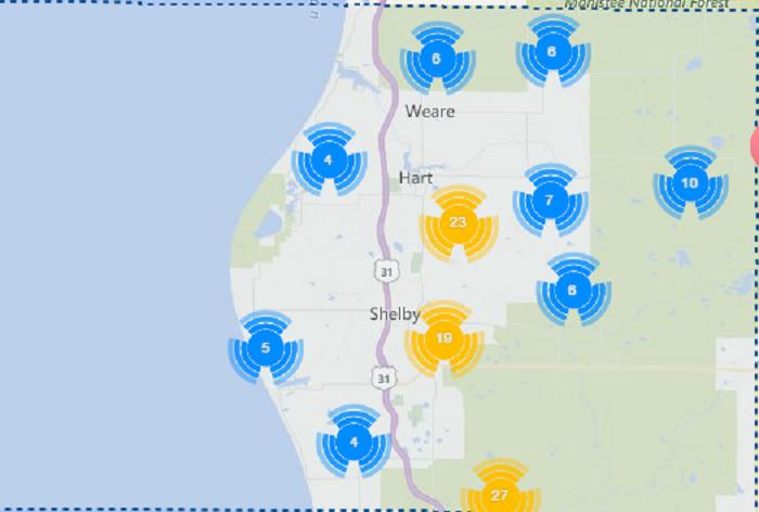 2) Oceana County, 70.01/10,000 residents