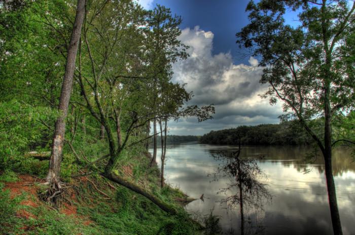 13) Beautiful skies cover the Ouachita River.