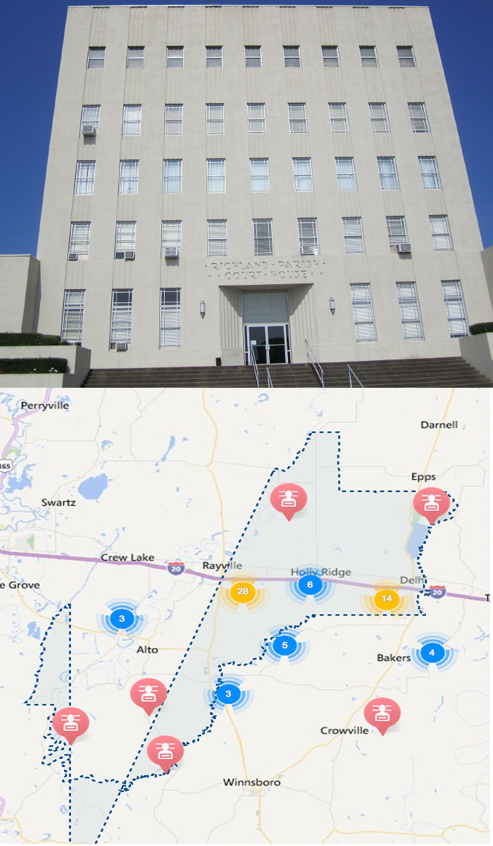 7) Richland Parish 39.34 sex offenders / 10,000 ppl