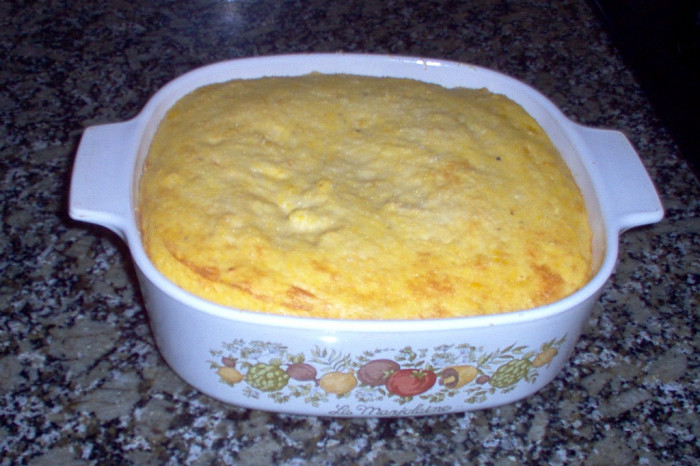 11. Spoonbread and Fish or Pork