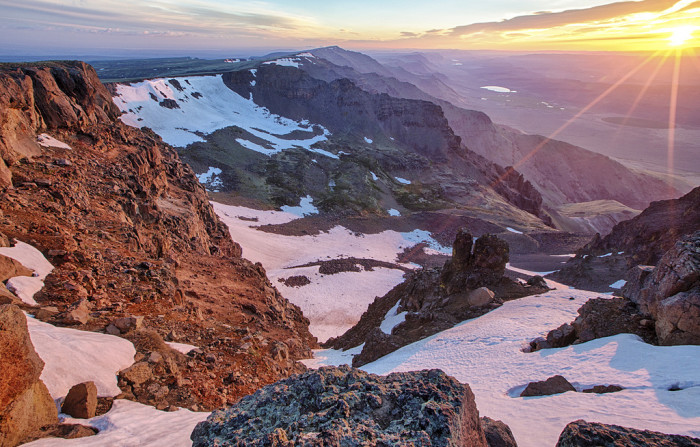 1) And up top of the Steens Mountain peak