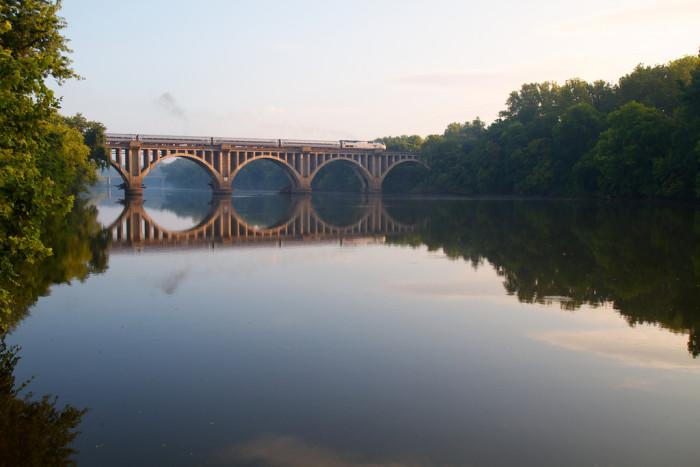 4. An Amtrak passenger train crosses the Rappahannock in Fredericksburg.