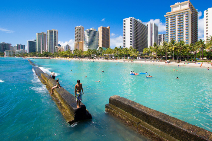 14) While this Waikiki spot is not necessarily accessible to everyone – or safe for that matter – it is atop the water, and I'd say that's pretty cool.