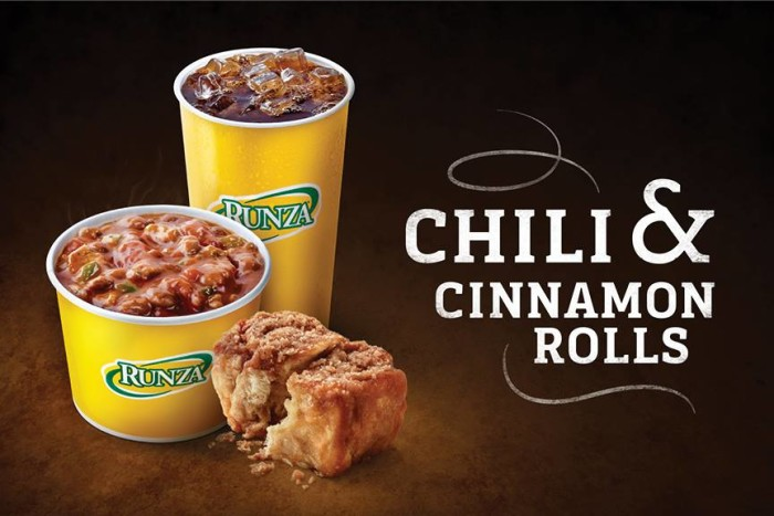 1. Chili and cinnamon rolls.