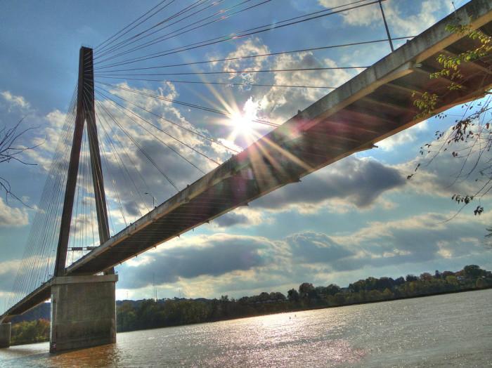 10. The sun shining above the East Huntington Bridge.