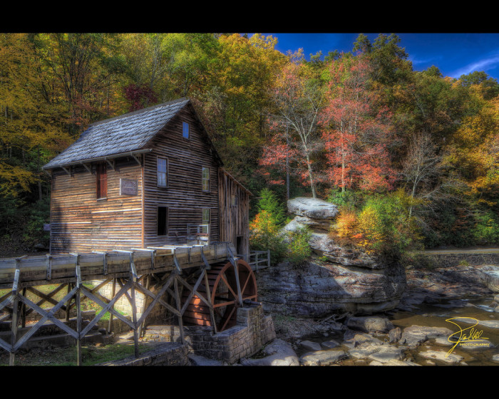9. This shot of the grist mill in autumn.