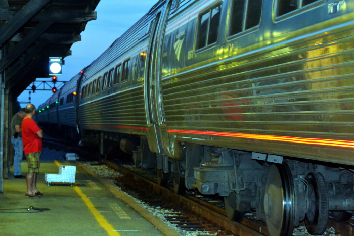 13. Waiting to board the evening train out of Newport News.