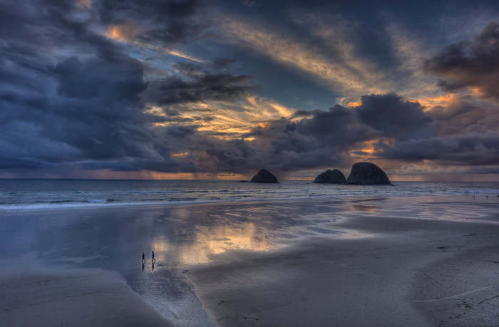 3) Reflections In The Sand At Canon Beach