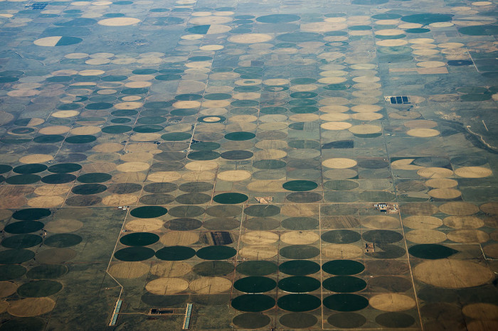 7. The pivot irrigation over the Oklahoma Panhandle is intriguing.