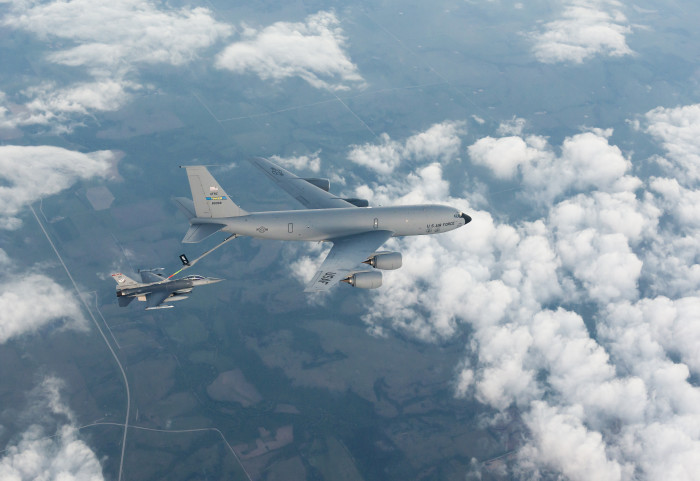 8. An F-16 Fighting Falcon from the 138th Fighter Wing, at Tulsa Air National Guard, while being refueled by a KC-135 Stratotanker from Tinker Air Force Base, OK.
