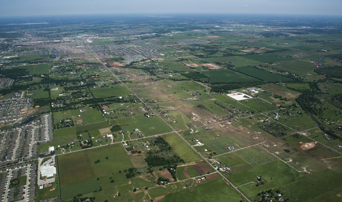 2. This aerial view of Moore is heartbreaking after a tornado left a path of destruction in 2013.