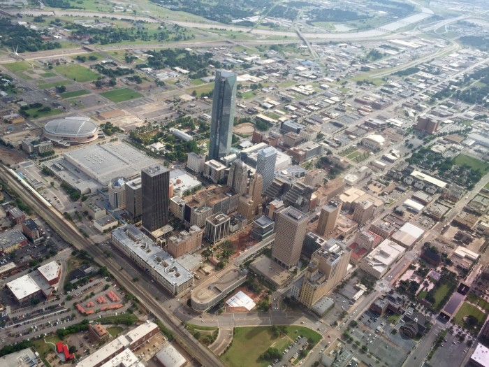 4. Downtown OKC view on landing approach to Will Rogers Airport