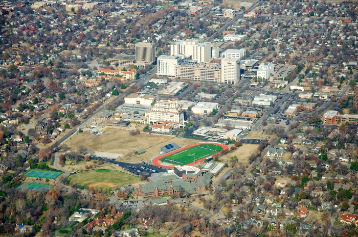 3. An aerial view of Casia Hall Preparatory School and Utica Square in Tulsa.