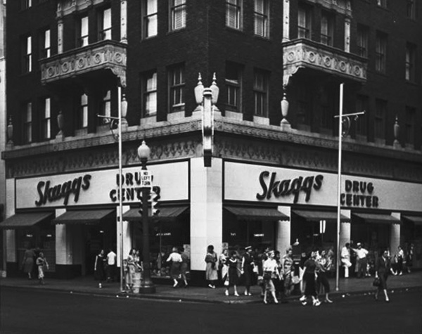 8. Downtown Tulsa in the mid-1950s.  The McFarlin Building housed a Skaggs Drug Center on the corner.