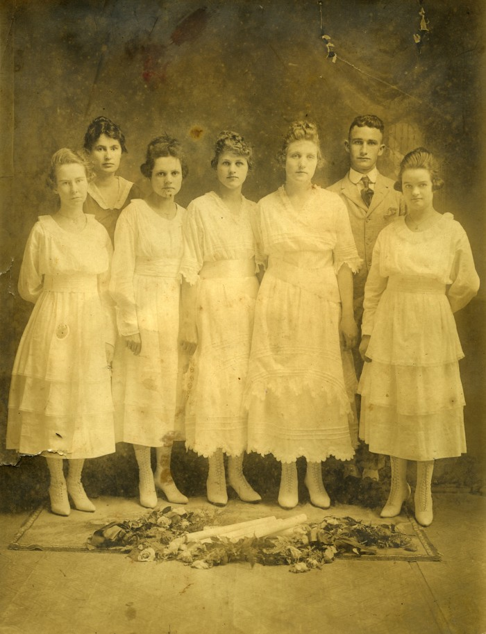 4. Texola, Oklahoma graduating class.  The population in 1910 was 361 and in 2010 it was 36.  Texola was a well-known stop on Route 66 until it was bypassed by a new interstate.