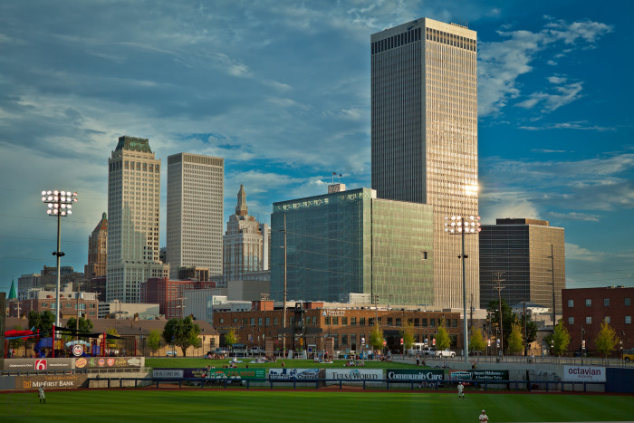 1. Lets start in Tulsa looking at downtown from ONEOK Field.