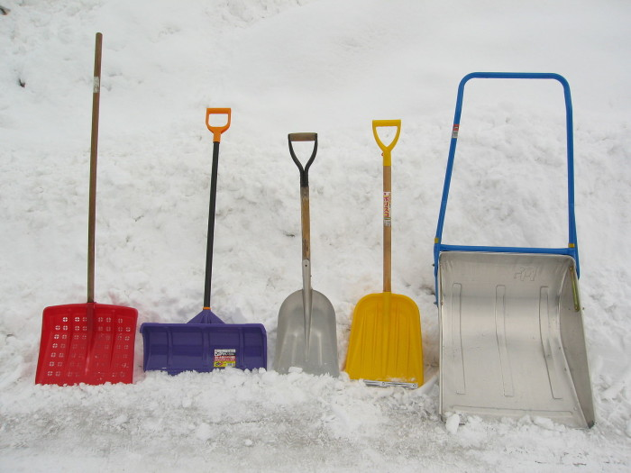 2. An assortment of snow shovels and other winter tools.