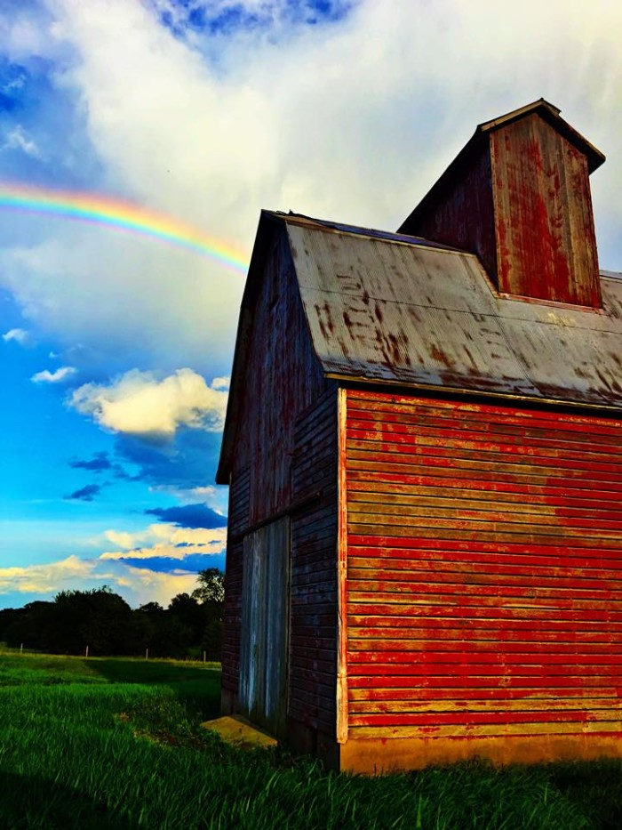 3. Travis took this shot of a big, red barn and beautiful blue sky.