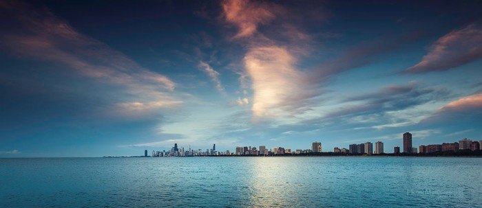 13. Henry took a photo of Chicago as viewed from the Montrose Harbor.
