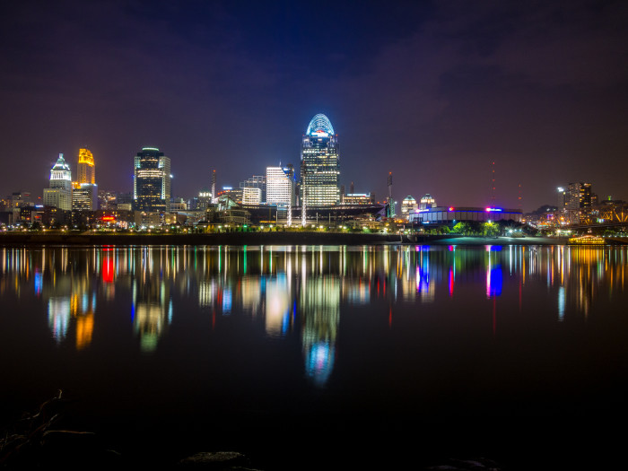 5. Cincinnati cityscape viewed from the mouth of the Licking River