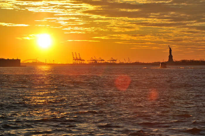 14. A lovely shot of the Bayonne Bridge and Statue of Liberty.
