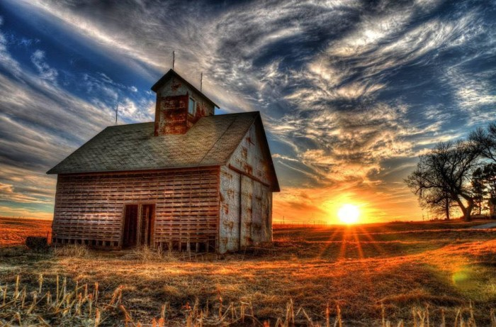 11. Casey Mitchell submitted this spectacular photo of an old barn at sunset.