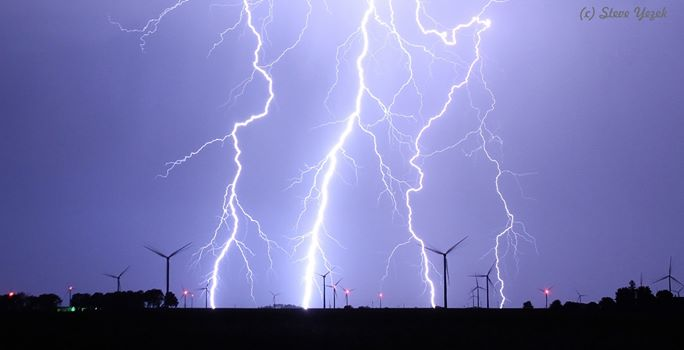 9. Steve Yezek captured this once-in-a-lifetime shot of a lightning storm at a wind farm north of Grafton.