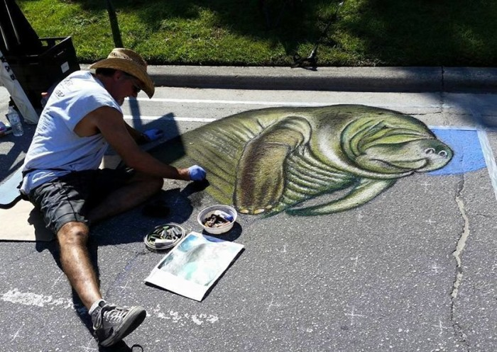 10. Karen Crowley-Keen sent us this photo of a chalk artist in Dunnellon