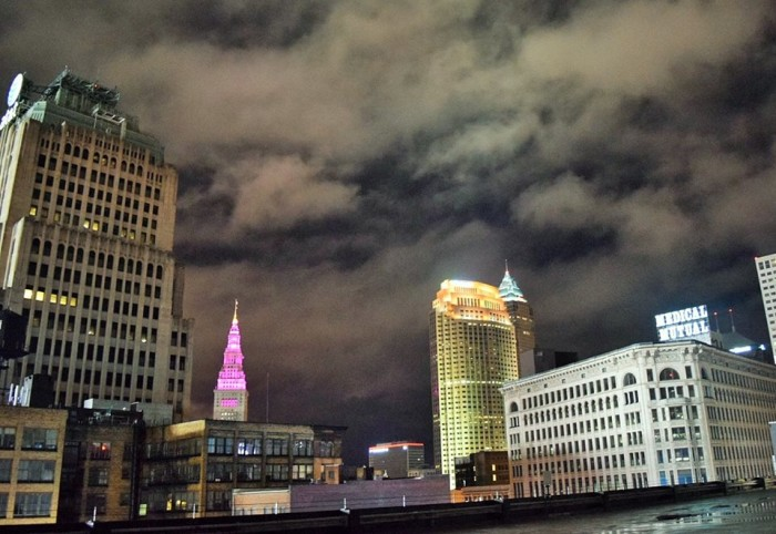7. Cleveland skyline featuring pink lighted Terminal Tower