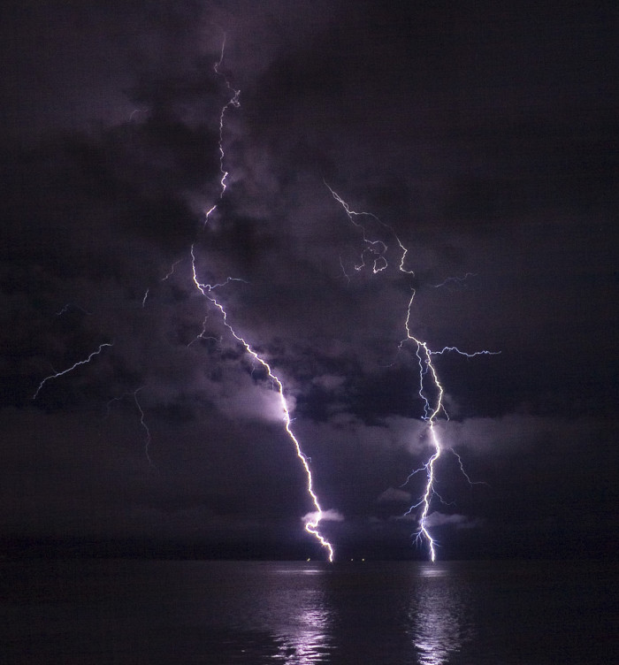 9) Lightning on the Columbia River.