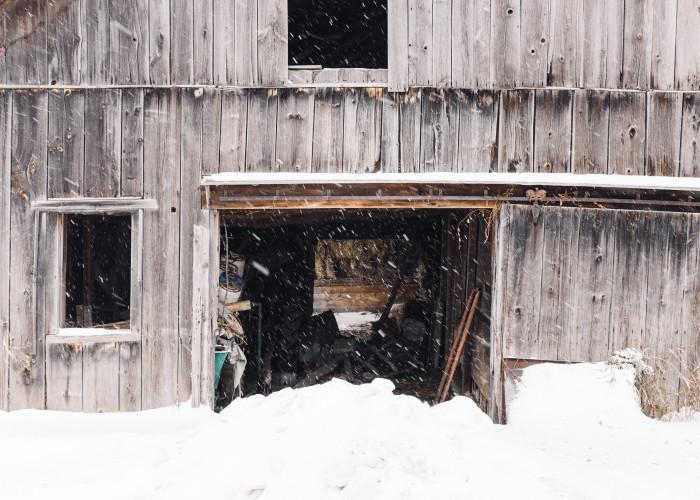 4) This inviting barn welcoming the snowfall.
