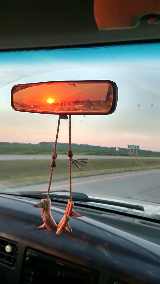 11. A unique view of a warm sunset as the photographer rides away from it.