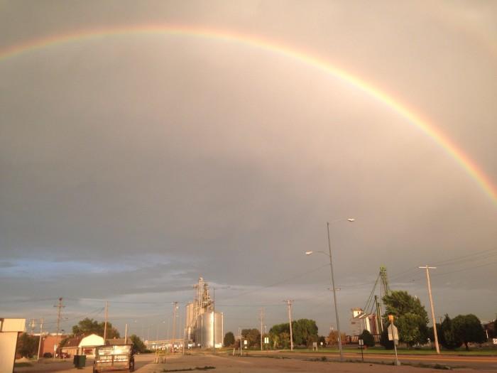 15. Wow! This rainbow in Lexington shoots across the entire grey sky.