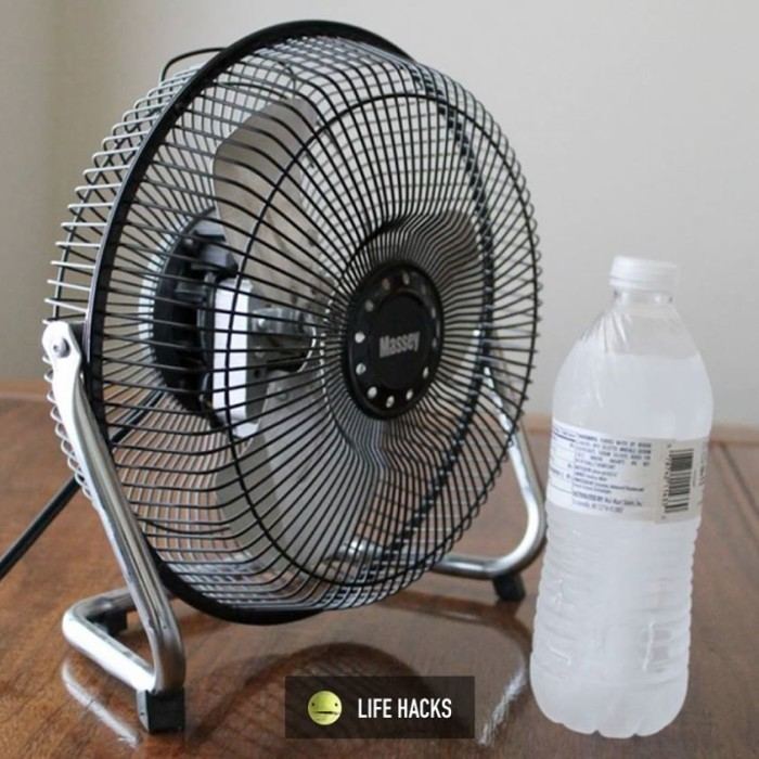 2. Frozen bottle of water in front of a fan for when the A/C breaks. I'm betting that here we would probably need a few more frozen bottles and a bigger fan, but you get the idea.