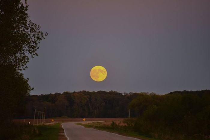 6. This shot of the super moon rising near Lake Mills.