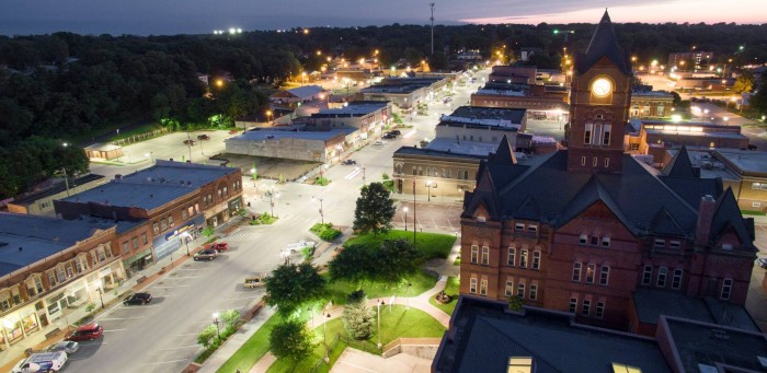24. A gorgeous aerial view of historic Downtown Plattsmouth was submitted by Over Exposure Aerial Photography.