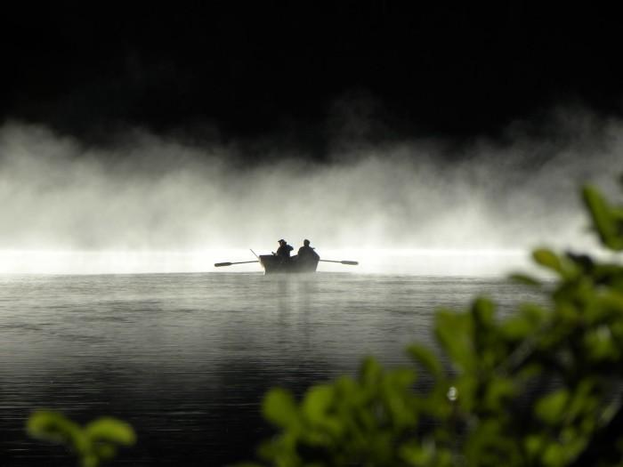 12) Fishers at Hemlock Lake, captured by Carol Goldwater.