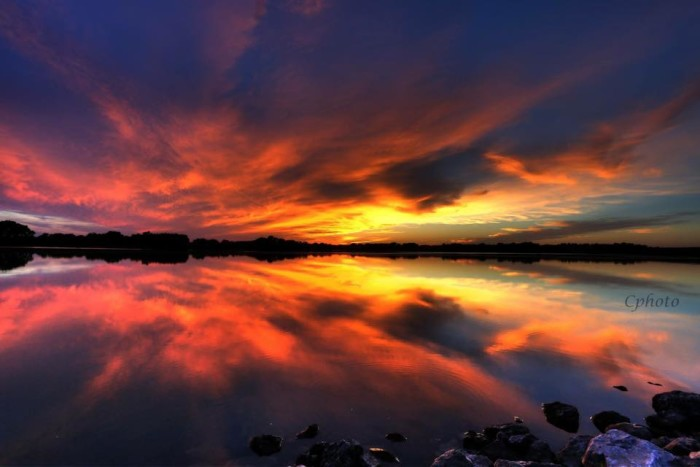 18. The sun sets the sky and water on fire at Yankee Hill Lake.