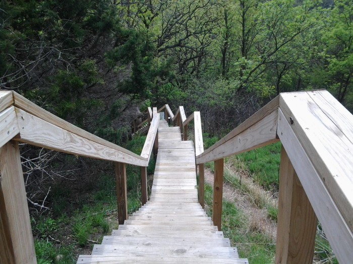 25. The dizzying wooden steps at Ponca State Park.