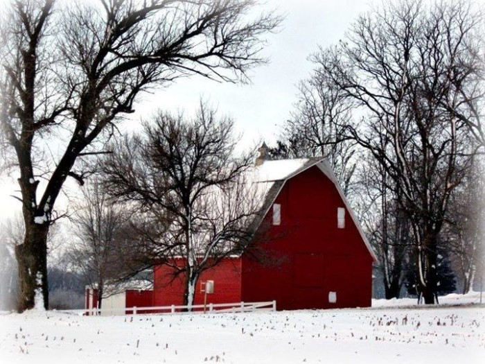 10. We aren't looking forward to snow, but it seems a little better when we get to see beautiful sights like this bright red barn in Bennington.