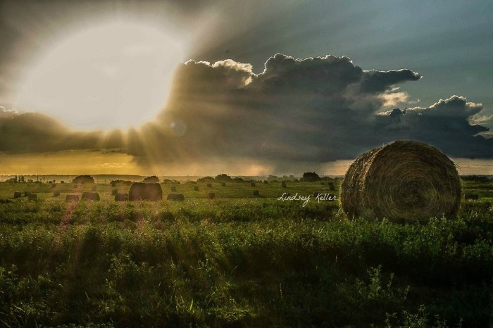 1. A spectacular sunset perfectly illuminates these hay bales just outside of Lincoln.