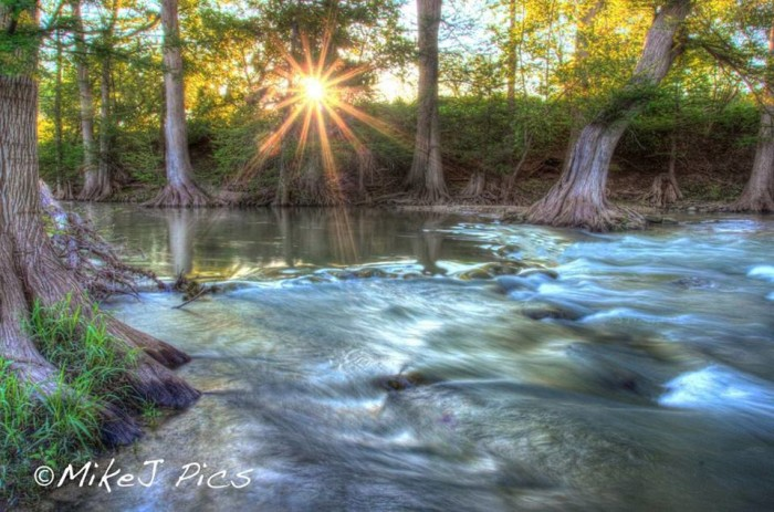 18) Mike Jones also photographs the sun rising over the fast-flowing Guadalupe River...what a beaut!