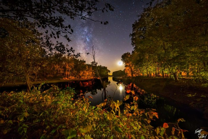 14. According to the photographer, this photo was taken at about 8:30PM on 10/15/2015 from a high bank on the White River. Gorgeous picture!