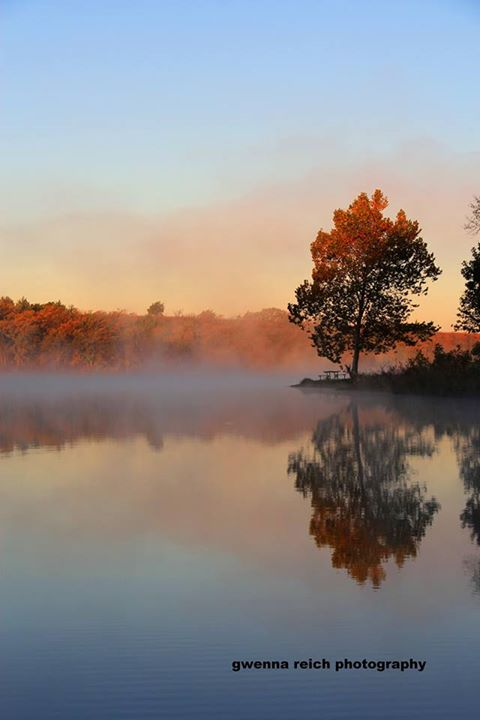 """15. """"Sunrise and fog on small lake by Rock Springs Kansas. Life is Good!"""""""
