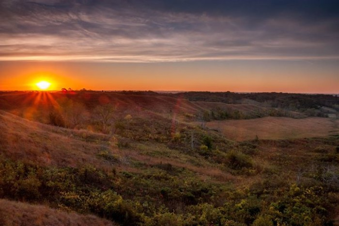 4. Michael Leland captured this stunning shot of the sun rising in the Loess Hills near Preparation Canyon State Park.