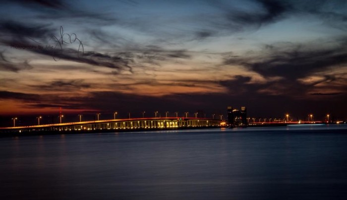 7) Another gorgeous shot taken by Julie O'Daniel Glenn, this time of the Galveston Causeway lighting up the night sky. Beautiful!
