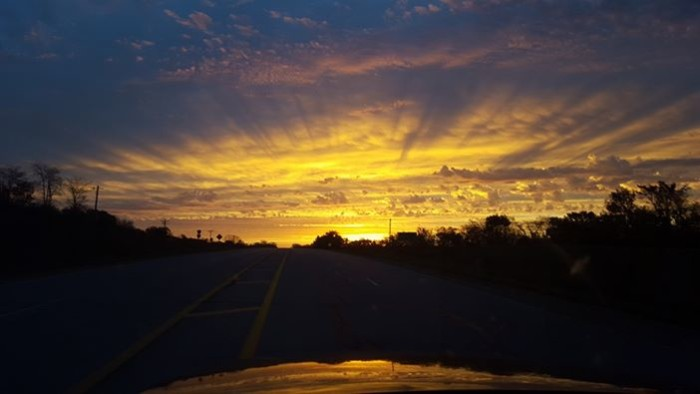 10. Wendy Musgrove snapped a photo of this stunning sunrise between West Liberty and Mechanicsville.