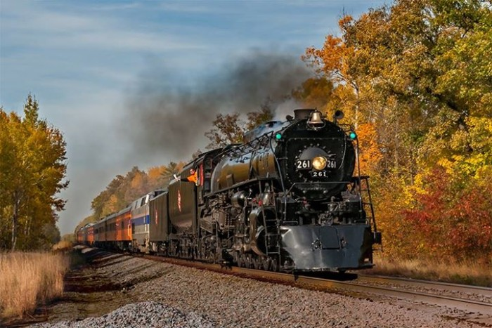 11. Aaron Seefeld perfectly timed this photo of The Milwaukee Road 261 rolling through Henriette.