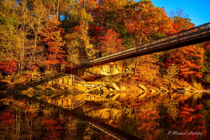18. Mike Hatcher shared a picture of a suspension bridge at Turkey Run State Park. The beautiful fall colors really make this picture.