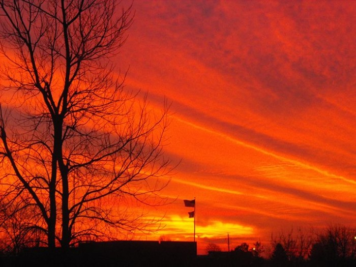 12. Roger Buban took this photo of a magnificent, orange sunset over Iowa.